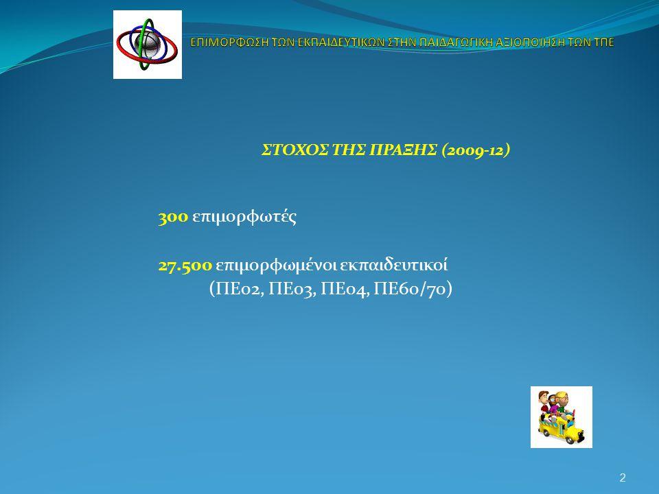 ΣΤΟΧΟΣ ΤΗΣ ΠΡΑΞΗΣ (2009-12) 300 επιμορφωτές 27.500 επιμορφωμένοι εκπαιδευτικοί (ΠΕ02, ΠΕ03, ΠΕ04, ΠΕ60/70) 2