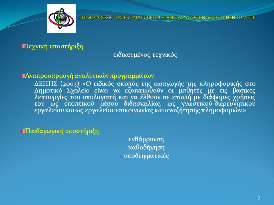 Τεχνική υποστήριξη ειδικευμένος τεχνικός Αναπροσαρμογή αναλυτικών προγραμμάτων ΔΕΠΠΣ (2003) «Ο ειδικός σκοπός της εισαγωγής της πληροφορικής στο Δημοτικό Σχολείο είναι να εξοικειωθούν οι μαθητές με τις βασικές λειτουργίες του υπολογιστή και να έλθουν σε επαφή με διάφορες χρήσεις του ως εποπτικού μέσου διδασκαλίας, ως γνωστικού-διερευνητικού εργαλείου και ως εργαλείου επικοινωνίας και αναζήτησης πληροφοριών.» Παιδαγωγική υποστήριξη - ενθάρρυνση - καθοδήγηση - υποδειγματικές 7