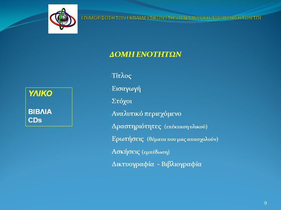 ΔΟΜΗ ΕΝΟΤΗΤΩΝ - Τίτλος - Εισαγωγή - Στόχοι - Αναλυτικό περιεχόμενο - Δραστηριότητες (επέκταση υλικού) - Ερωτήσεις (θέματα που μας απασχολούν) - Ασκήσεις (εμπέδωση) - Δικτυογραφία - Βιβλιογραφία 9 ΥΛΙΚΟ ΒΙΒΛΙΑ CDs