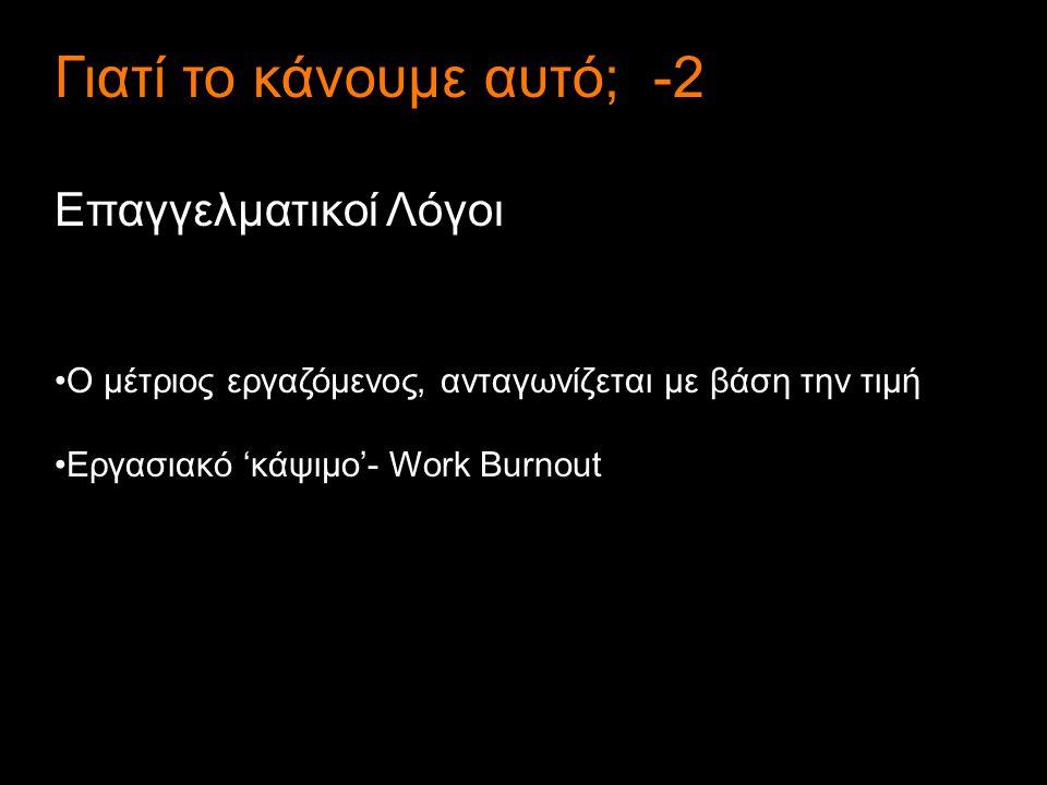 4 Γιατί το κάνουμε αυτό; -2 Επαγγελματικοί Λόγοι Ο μέτριος εργαζόμενος, ανταγωνίζεται με βάση την τιμή Εργασιακό 'κάψιμο'- Work Burnout