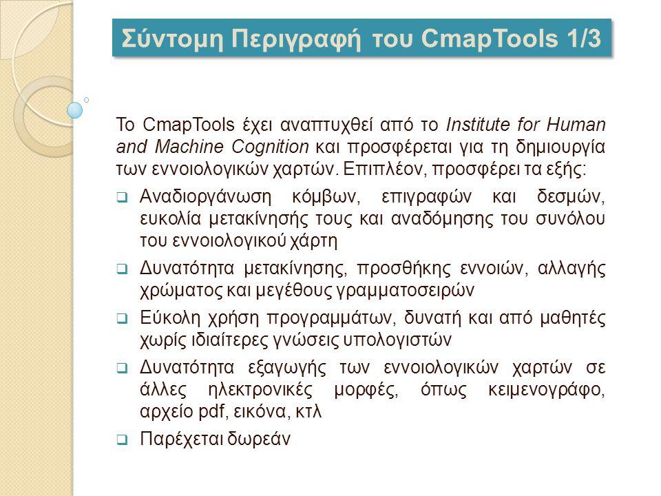 Σύντομη Περιγραφή του CmapTools 1/3 Το CmapTools έχει αναπτυχθεί από το Institute for Human and Machine Cognition και προσφέρεται για τη δημιουργία τω