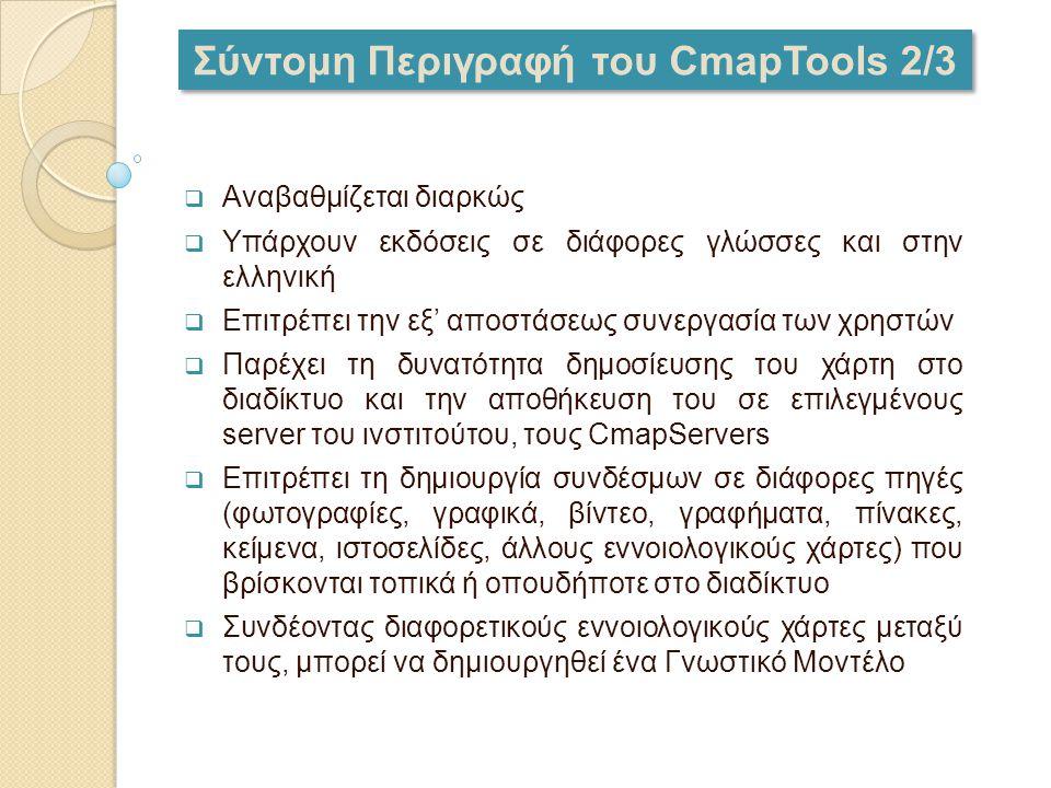 Σύντομη Περιγραφή του CmapTools 2/3  Αναβαθμίζεται διαρκώς  Υπάρχουν εκδόσεις σε διάφορες γλώσσες και στην ελληνική  Επιτρέπει την εξ' αποστάσεως σ