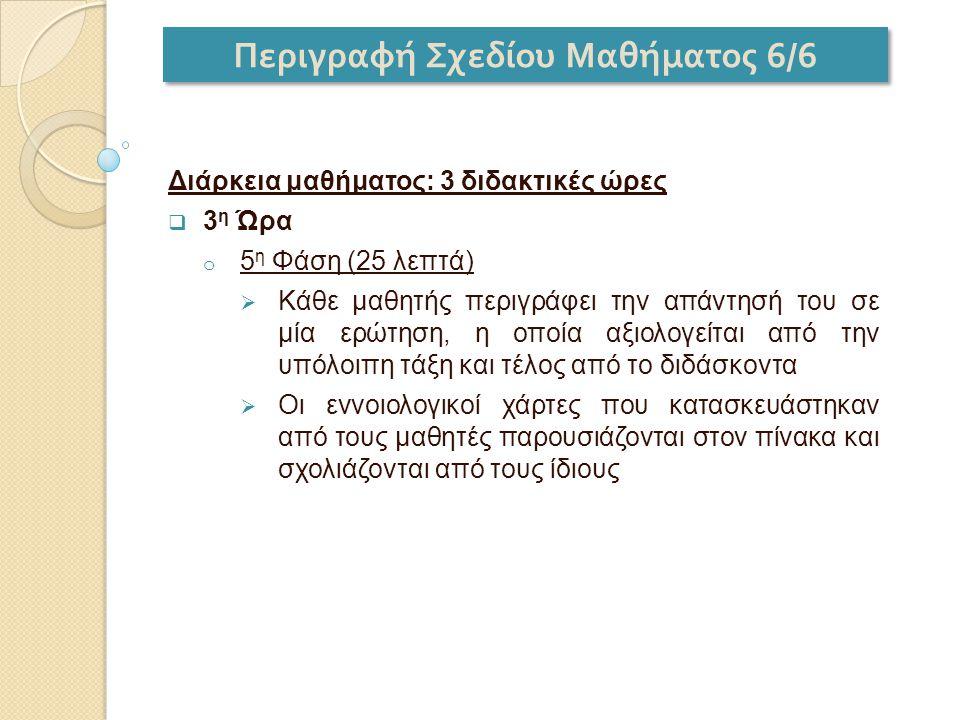 Περιγραφή Σχεδίου Μαθήματος 6/6 Διάρκεια μαθήματος: 3 διδακτικές ώρες  3 η Ώρα o 5 η Φάση (25 λεπτά)  Κάθε μαθητής περιγράφει την απάντησή του σε μί