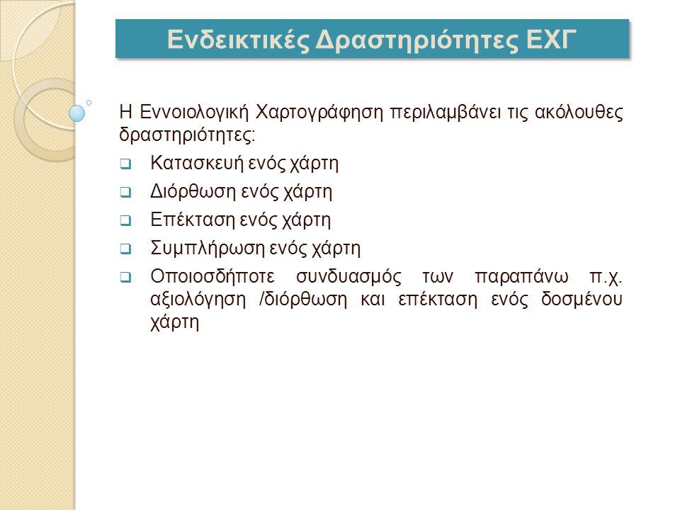 Ενδεικτικές Δραστηριότητες ΕΧΓ Η Εννοιολογική Χαρτογράφηση περιλαμβάνει τις ακόλουθες δραστηριότητες:  Κατασκευή ενός χάρτη  Διόρθωση ενός χάρτη  Ε