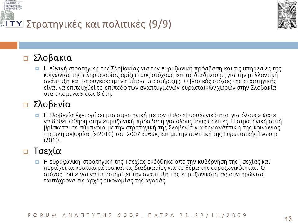 13 FORUM ΑΝΑΠΤΥΞΗΣ 2009, ΠΑΤΡΑ 21-22/11/2009 Στρατηγικές και πολιτικές (9/9)  Σλοβακία  Η εθνική στρατηγική της Σλοβακίας για την ευρυζωνική πρόσβαση και τις υπηρεσίες της κοινωνίας της πληροφορίας ορίζει τους στόχους και τις διαδικασίες για την μελλοντική ανάπτυξη και τα συγκεκριμένα μέτρα υποστήριξης.