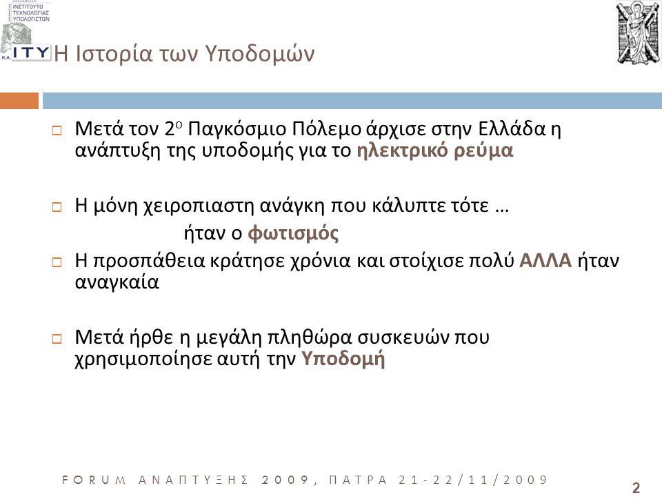 2 FORUM ΑΝΑΠΤΥΞΗΣ 2009, ΠΑΤΡΑ 21-22/11/2009  Μετά τον 2 ο Παγκόσμιο Πόλεμο άρχισε στην Ελλάδα η ανάπτυξη της υποδομής για το ηλεκτρικό ρεύμα  Η μόνη χειροπιαστη ανάγκη που κάλυπτε τότε … ήταν ο φωτισμός  Η προσπάθεια κράτησε χρόνια και στοίχισε πολύ ΑΛΛΑ ήταν αναγκαία  Μετά ήρθε η μεγάλη πληθώρα συσκευών που χρησιμοποίησε αυτή την Υποδομή H Ιστορία των Υποδομών