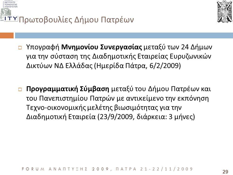 29 FORUM ΑΝΑΠΤΥΞΗΣ 2009, ΠΑΤΡΑ 21-22/11/2009 Πρωτοβουλίες Δήμου Πατρέων  Υπογραφή Μνημονίου Συνεργασίας μεταξύ των 24 Δήμων για την σύσταση της Διαδη