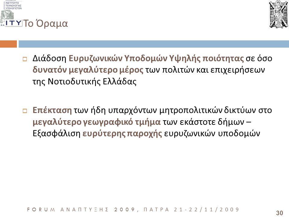 30 FORUM ΑΝΑΠΤΥΞΗΣ 2009, ΠΑΤΡΑ 21-22/11/2009 Το Όραμα  Διάδοση Ευρυζωνικών Υποδομών Υψηλής ποιότητας σε όσο δυνατόν μεγαλύτερο μέρος των πολιτών και επιχειρήσεων της Νοτιοδυτικής Ελλάδας  Επέκταση των ήδη υπαρχόντων μητροπολιτικών δικτύων στο μεγαλύτερο γεωγραφικό τμήμα των εκάστοτε δήμων – Εξασφάλιση ευρύτερης παροχής ευρυζωνικών υποδομών