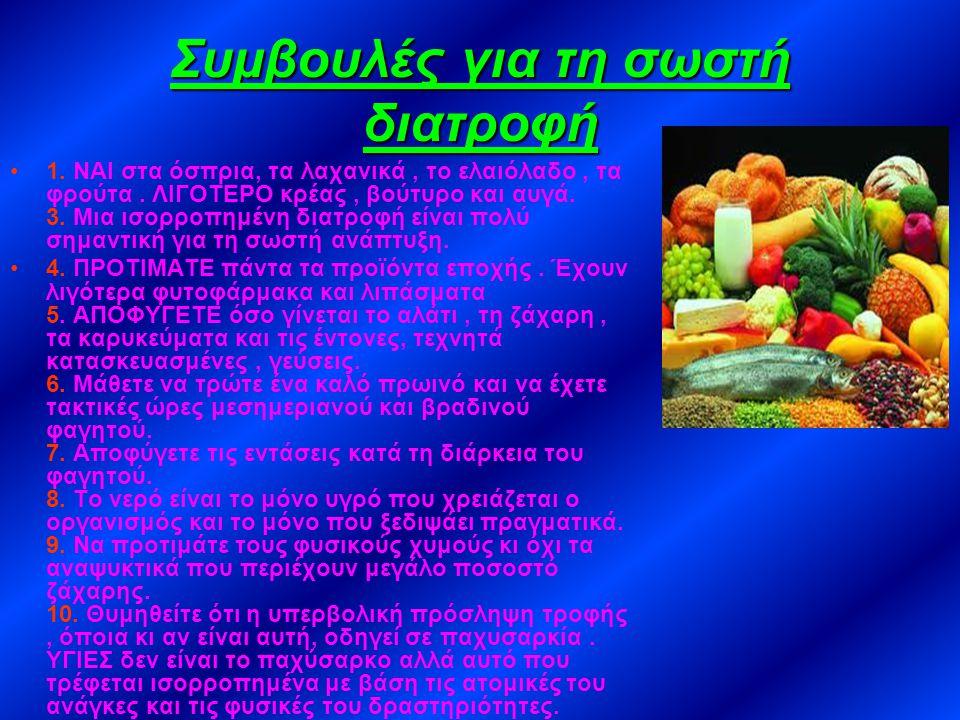 Οδηγός Διατροφής Τα φαγητά περιέχουν όλες τις θρεπτικές ουσίες τις οποίες έχει ανάγκη το σώμα μας για να μεγαλώσει, να κρατηθεί σε φόρμα,να κινηθεί, ν
