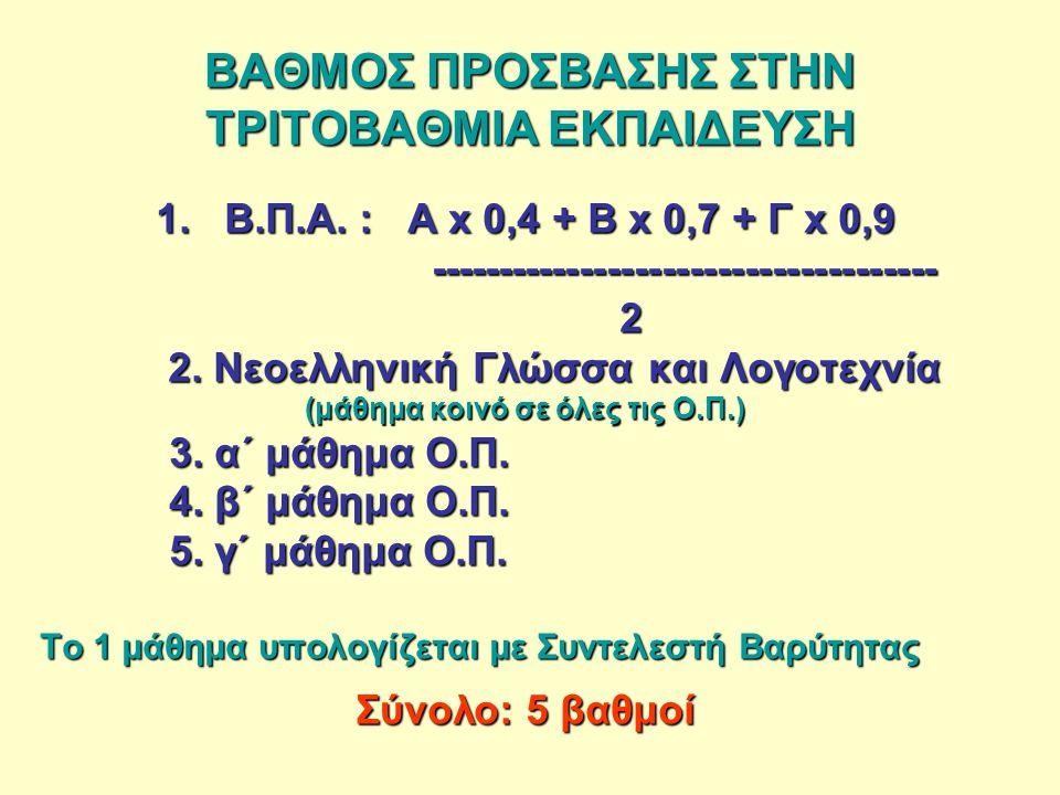 ΒΑΘΜΟΣ ΠΡΟΣΒΑΣΗΣ ΣΤΗΝ ΤΡΙΤΟΒΑΘΜΙΑ ΕΚΠΑΙΔΕΥΣΗ 1. B.Π.Α.