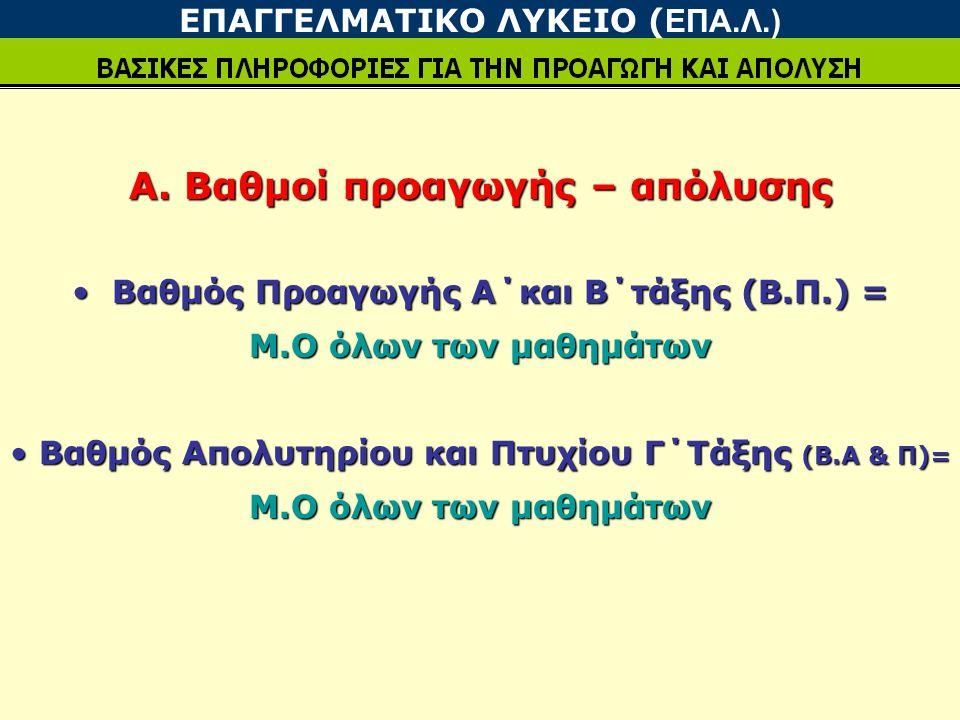 Α. Βαθμοί προαγωγής – απόλυσης Βαθμός Προαγωγής Α΄και Β΄τάξης (Β.Π.) = Βαθμός Προαγωγής Α΄και Β΄τάξης (Β.Π.) = Μ.Ο όλων των μαθημάτων Βαθμός Απολυτηρί