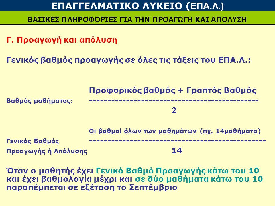 Γ. Προαγωγή και απόλυση Γενικός βαθμός προαγωγής σε όλες τις τάξεις του ΕΠΑ.Λ.: Προφορικός βαθμός + Γραπτός Βαθμός Βαθμός μαθήματος: -----------------