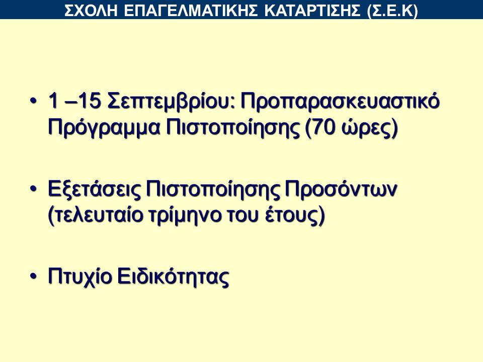 1 –15 Σεπτεμβρίου: Προπαρασκευαστικό Πρόγραμμα Πιστοποίησης (70 ώρες)1 –15 Σεπτεμβρίου: Προπαρασκευαστικό Πρόγραμμα Πιστοποίησης (70 ώρες) Εξετάσεις Πιστοποίησης Προσόντων (τελευταίο τρίμηνο του έτους)Εξετάσεις Πιστοποίησης Προσόντων (τελευταίο τρίμηνο του έτους) Πτυχίο ΕιδικότηταςΠτυχίο Ειδικότητας