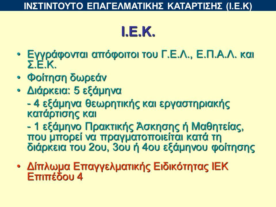 Ι.Ε.Κ. Εγγράφονται απόφοιτοι του Γ.Ε.Λ., Ε.Π.Α.Λ.