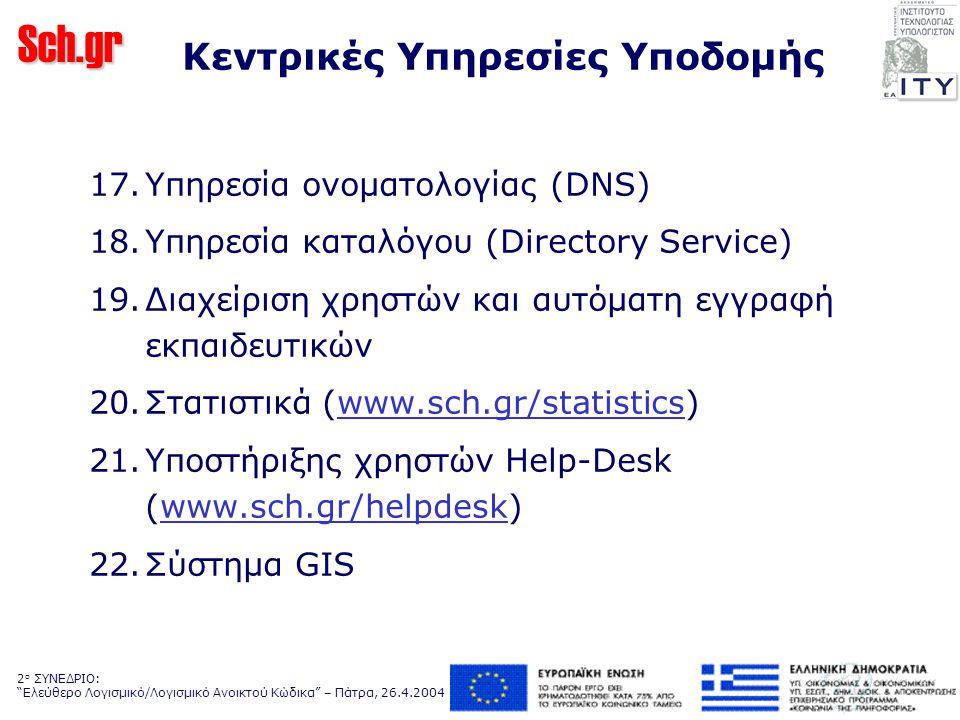 Sch.gr 2 ο ΣΥΝΕΔΡΙΟ: Ελεύθερο Λογισμικό/Λογισμικό Ανοικτού Κώδικα – Πάτρα, 26.4.2004 Κεντρικές Υπηρεσίες Υποδομής 17.
