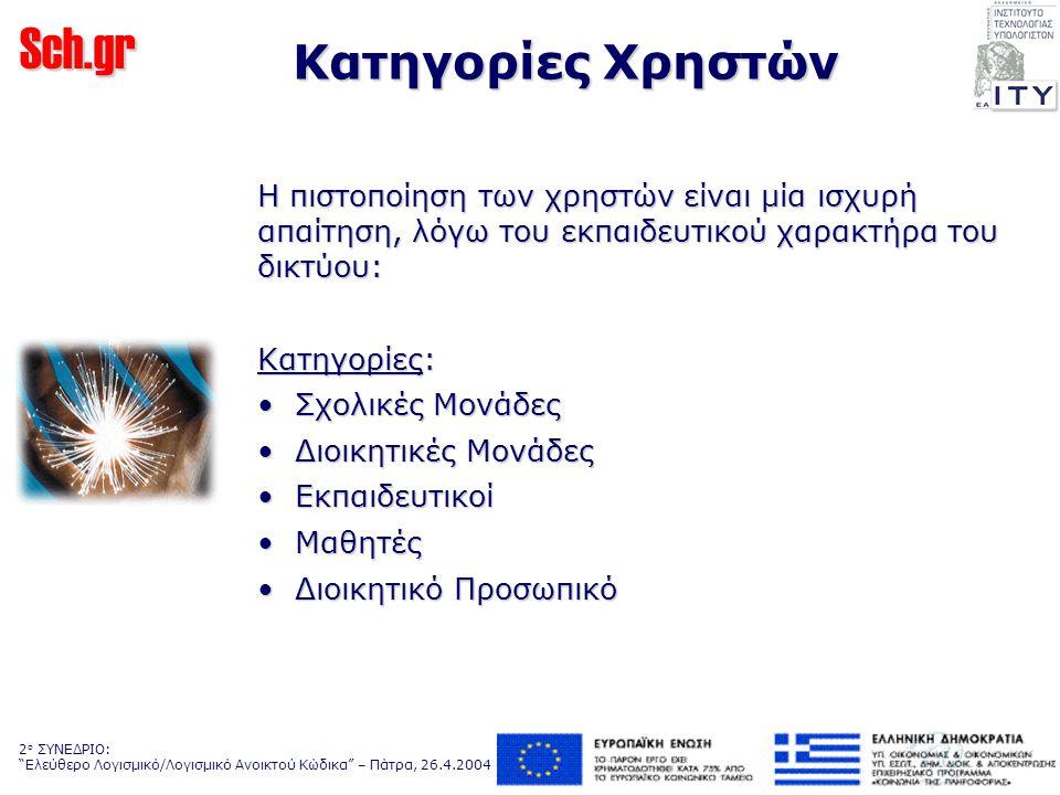 Sch.gr 2 ο ΣΥΝΕΔΡΙΟ: Ελεύθερο Λογισμικό/Λογισμικό Ανοικτού Κώδικα – Πάτρα, 26.4.2004 Κατηγορίες Χρηστών Η πιστοποίηση των χρηστών είναι μία ισχυρή απαίτηση, λόγω του εκπαιδευτικού χαρακτήρα του δικτύου: Κατηγορίες: Σχολικές Μονάδες Σχολικές Μονάδες Διοικητικές Μονάδες Διοικητικές Μονάδες Εκπαιδευτικοί Εκπαιδευτικοί Μαθητές Μαθητές Διοικητικό Προσωπικό Διοικητικό Προσωπικό