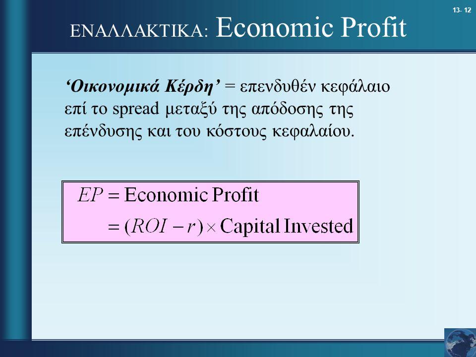 13- 12 ΕΝΑΛΛΑΚΤΙΚΑ: Economic Profit 'Οικονομικά Κέρδη' = επενδυθέν κεφάλαιο επί το spread μεταξύ της απόδοσης της επένδυσης και του κόστους κεφαλαίου.