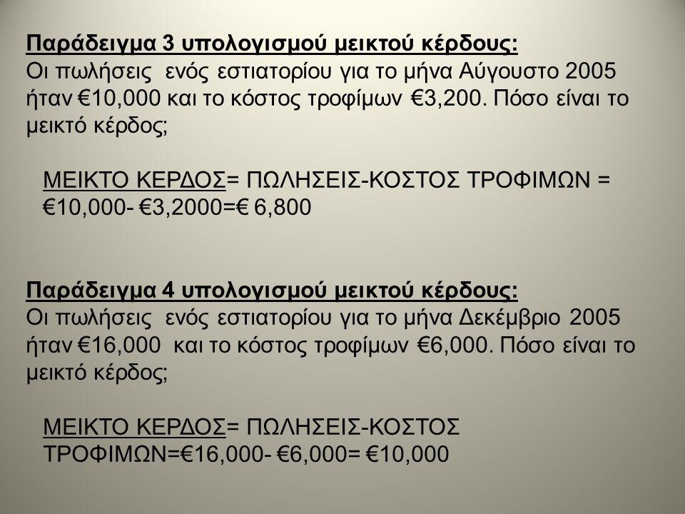 Παράδειγμα 3 υπολογισμού μεικτού κέρδους: Οι πωλήσεις ενός εστιατορίου για το μήνα Αύγουστο 2005 ήταν €10,000 και το κόστος τροφίμων €3,200. Πόσο είνα