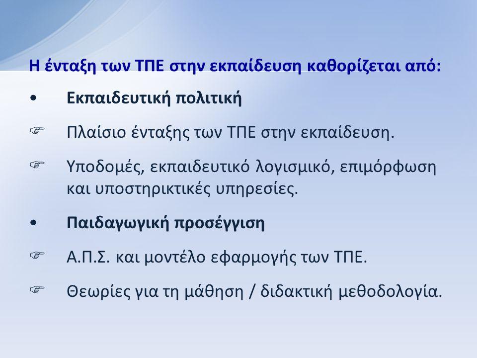 Εκπαιδευτική πολιτική  Πλαίσιο ένταξης των ΤΠΕ στην εκπαίδευση.
