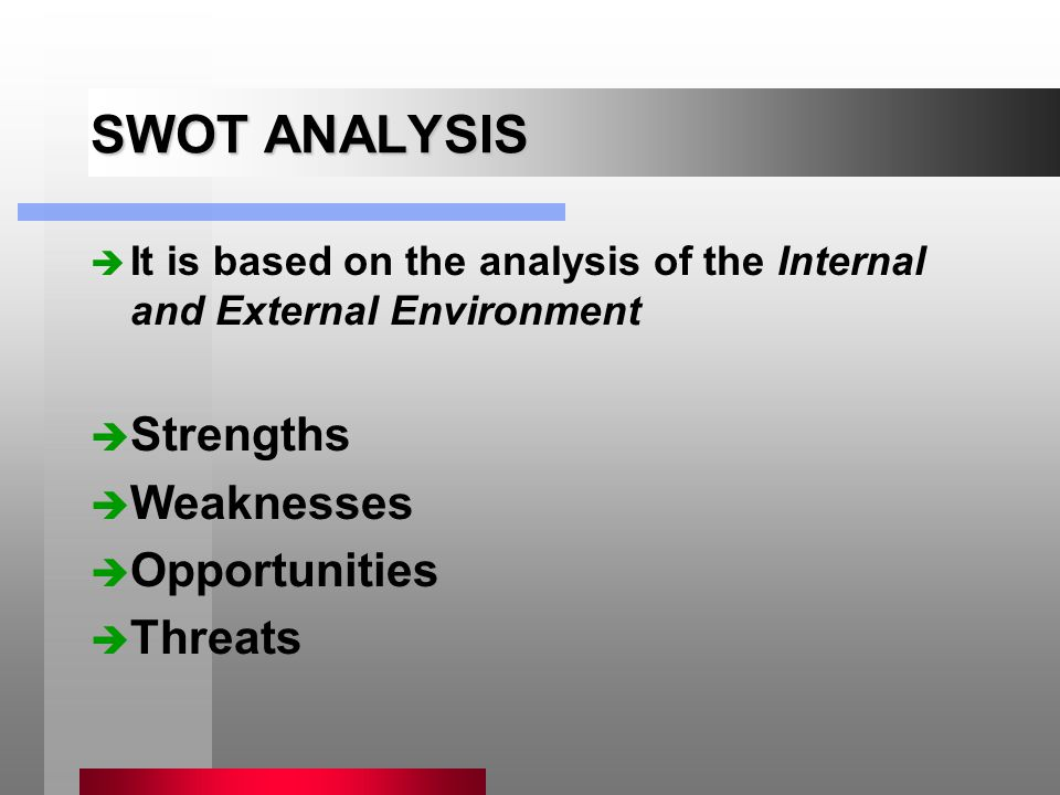 SWOT ANALYSIS è It is based on the analysis of the Internal and External Environment è Strengths è Weaknesses è Opportunities è Threats