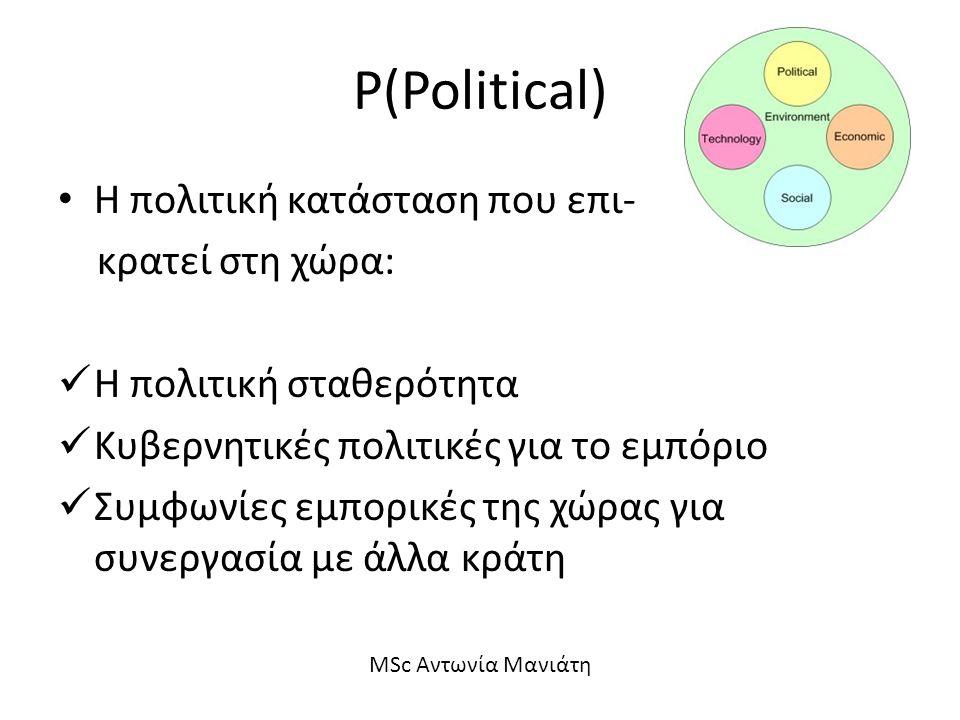 P(Political) Η πολιτική κατάσταση που επι- κρατεί στη χώρα: Η πολιτική σταθερότητα Κυβερνητικές πολιτικές για το εμπόριο Συμφωνίες εμπορικές της χώρας