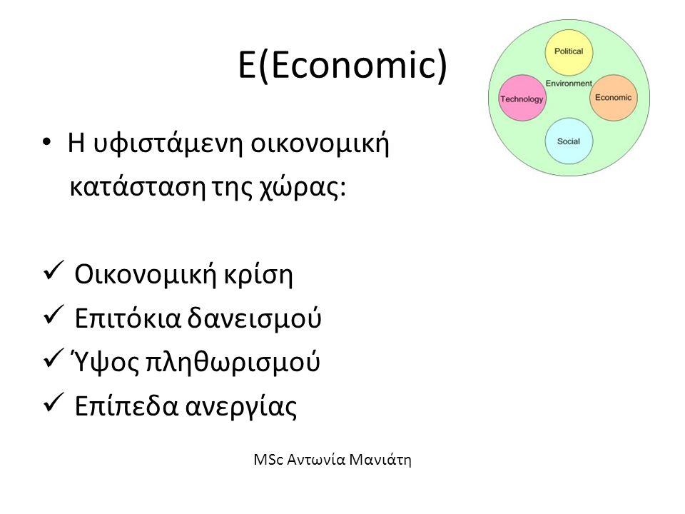 Ε(Economic) Η υφιστάμενη οικονομική κατάσταση της χώρας: Οικονομική κρίση Επιτόκια δανεισμού Ύψος πληθωρισμού Επίπεδα ανεργίας MSc Αντωνία Μανιάτη