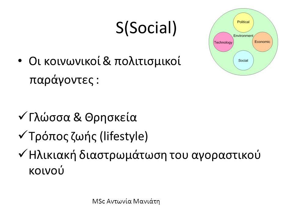 S(Social) Οι κοινωνικοί & πολιτισμικοί παράγοντες : Γλώσσα & Θρησκεία Τρόπος ζωής (lifestyle) Ηλικιακή διαστρωμάτωση του αγοραστικού κοινού MSc Αντωνί