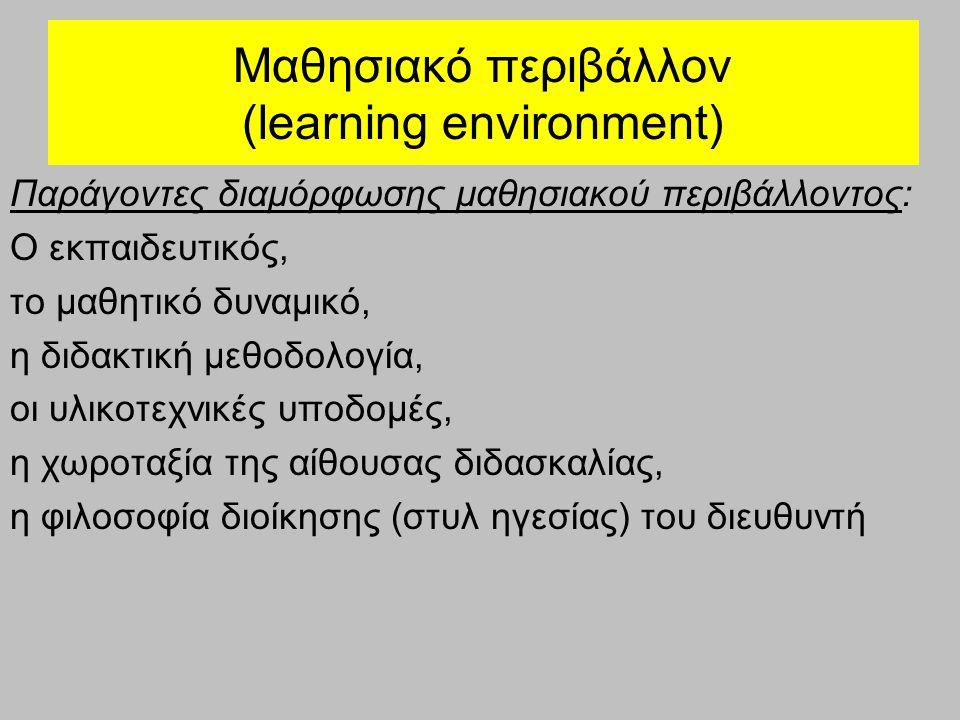 Μαθησιακό περιβάλλον (learning environment) Παράγοντες διαμόρφωσης μαθησιακού περιβάλλοντος: Ο εκπαιδευτικός, το μαθητικό δυναμικό, η διδακτική μεθοδο
