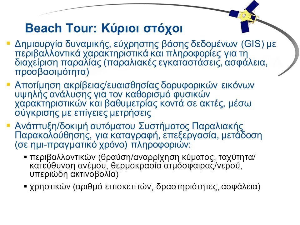Beach Tour: Κύριοι στόχοι  Δημιουργία δυναμικής, εύχρηστης βάσης δεδομένων (GIS) με περιβαλλοντικά χαρακτηριστικά και πληροφορίες για τη διαχείριση π