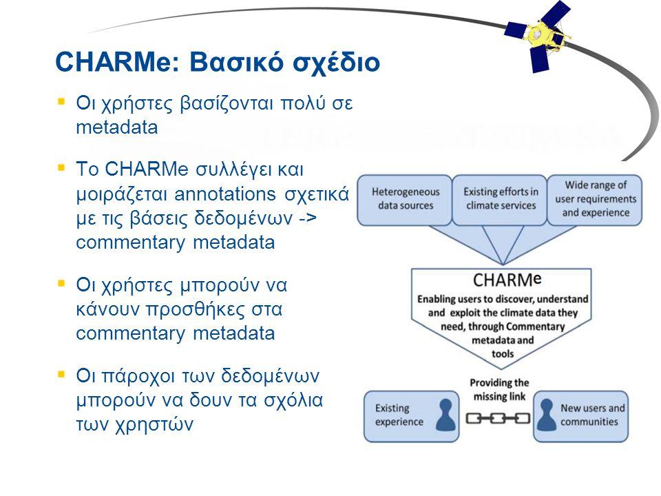 CHARMe: Βασικό σχέδιο  Οι χρήστες βασίζονται πολύ σε metadata  To CHARMe συλλέγει και μοιράζεται annotations σχετικά με τις βάσεις δεδομένων -> comm