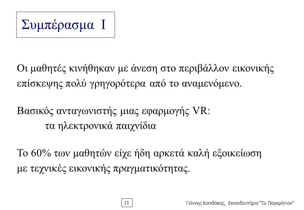 Γιάννης Κοπιδάκης, Εκπαιδευτήριο Το Παγκρήτιον 11 Συμπέρασμα Ι Οι μαθητές κινήθηκαν με άνεση στο περιβάλλον εικονικής επίσκεψης πολύ γρηγορότερα από το αναμενόμενο.