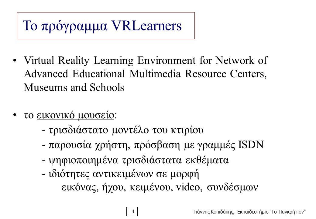 Γιάννης Κοπιδάκης, Εκπαιδευτήριο Το Παγκρήτιον 4 Το πρόγραμμα VRLearners Virtual Reality Learning Environment for Network of Advanced Educational Multimedia Resource Centers, Museums and Schools το εικονικό μουσείο: - τρισδιάστατο μοντέλο του κτιρίου - παρουσία χρήστη, πρόσβαση με γραμμές ISDN - ψηφιοποιημένα τρισδιάστατα εκθέματα - ιδιότητες αντικειμένων σε μορφή εικόνας, ήχου, κειμένου, video, συνδέσμων
