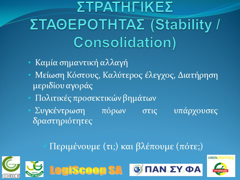 Κάθετη ολοκλήρωση (Vertical Integration) Οριζόντια ολοκλήρωση (Horizontal) Διαφοροποίηση (Diversification) Συγκέντρωση / Διείσδυση Αγοράς (Penetration) Ανάπτυξη Αγοράς (Development) Εταιρική κουλτούρα και διακριτότητα