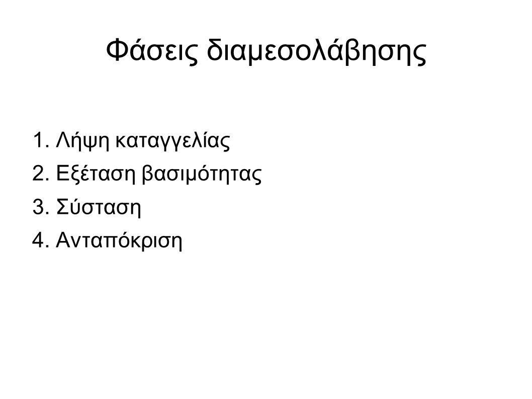 Φάσεις διαμεσολάβησης 1. Λήψη καταγγελίας 2. Εξέταση βασιμότητας 3. Σύσταση 4. Ανταπόκριση