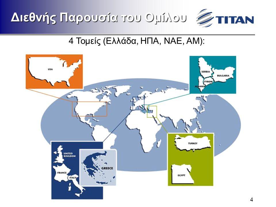 4 Διεθνής Παρουσία του Ομίλου 4 Τομείς (Ελλάδα, ΗΠΑ, ΝΑΕ, ΑΜ):
