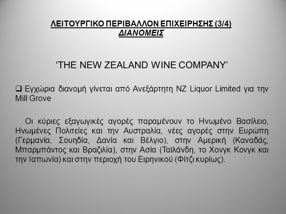 ΛΕΙΤΟΥΡΓΙΚΟ ΠΕΡΙΒΑΛΛΟΝ ΕΠΙΧΕΙΡΗΣΗΣ (3/4) ΔΙΑΝΟΜΕΙΣ 'THE NEW ZEALAND WINE COMPANY'  Εγχώρια διανομή γίνεται από Ανεξάρτητη NZ Liquor Limited για την M