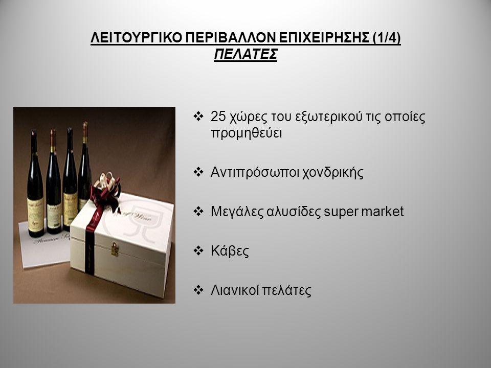 ΛΕΙΤΟΥΡΓΙΚΟ ΠΕΡΙΒΑΛΛΟΝ ΕΠΙΧΕΙΡΗΣΗΣ (2/4) ΠΡΟΜΗΘΕΥΤΕΣ Η εταιρεία Μπουτάρη :  Έχει στραφεί στην αμπελουργία με σκοπό να προμηθεύονται τα οινοποιεία της, τις δικές της πρώτες ύλες- κρασοστάφυλλα  Έχει οινολογική μονάδα με 12 αξιόλογους οινολόγους-γεωπόνους- αμπελουργούς που είναι αρμόδιοι για αυτή τη δουλειά  Οι αμπελώνες της καταλαμβάνουν μεγάλες εκτάσεις με χαρακτηριστικό παράδειγμα το οινοποιείο στη Νότια Γαλλία που περιβάλλεται από 700 στρέμματα THE NEW ZEALAND WINE COMPANY:  Ανέπτυξε την υποδομή παραγωγής οινοποιείο, διατηρώντας παράλληλα και τη βελτίωση των ισχυουσών προδιαγραφών ποιότητας, της ασφάλειας και του περιβάλλοντος  Τα σταφύλια της προέρχονται κατά 70% από μισθωμένους αμπελώνες και το υπόλοιπο 40% από ένα πλαίσιο σύμβασης με αμπελουργούς
