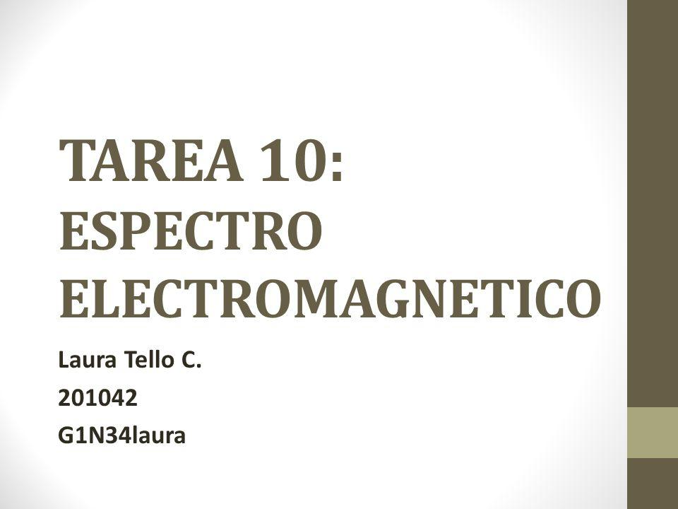 TAREA 10: ESPECTRO ELECTROMAGNETICO Laura Tello C. 201042 G1N34laura