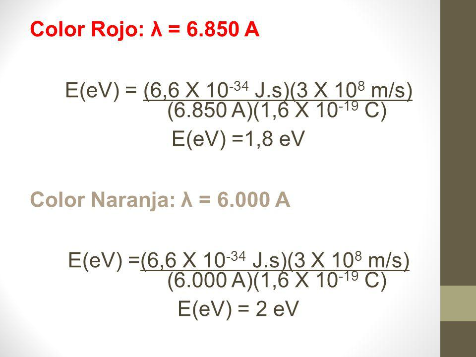 Color Rojo: λ = 6.850 A E(eV) = (6,6 X 10 -34 J.s)(3 X 10 8 m/s) (6.850 A)(1,6 X 10 -19 C) E(eV) =1,8 eV Color Naranja: λ = 6.000 A E(eV) =(6,6 X 10 -34 J.s)(3 X 10 8 m/s) (6.000 A)(1,6 X 10 -19 C) E(eV) = 2 eV