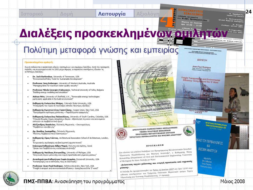 ΠΜΣ-ΠΠΒΑ: Ανασκόπηση του προγράμματοςΜάιος 2008 24 Ιστορικό Δομή Λειτουργία Αξιολόγηση Διαλέξεις προσκεκλημένων ομιλητών Πολύτιμη μεταφορά γνώσης και