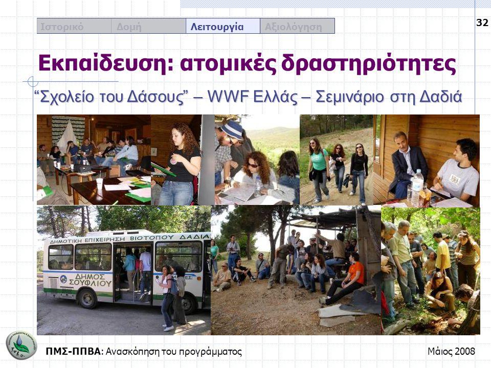 """ΠΜΣ-ΠΠΒΑ: Ανασκόπηση του προγράμματοςΜάιος 2008 32 Ιστορικό Δομή Λειτουργία Αξιολόγηση Εκπαίδευση: ατομικές δραστηριότητες """"Σχολείο του Δάσους"""" – WWF"""