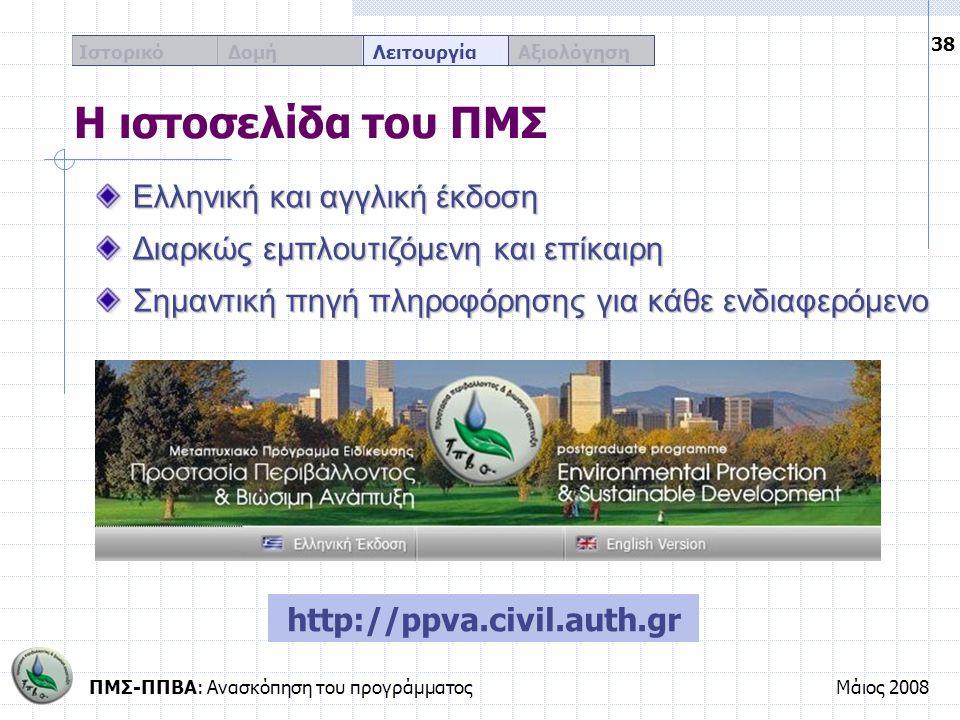 ΠΜΣ-ΠΠΒΑ: Ανασκόπηση του προγράμματοςΜάιος 2008 38 Ιστορικό Δομή Λειτουργία Αξιολόγηση Η ιστοσελίδα του ΠΜΣ http://ppva.civil.auth.gr Ελληνική και αγγ