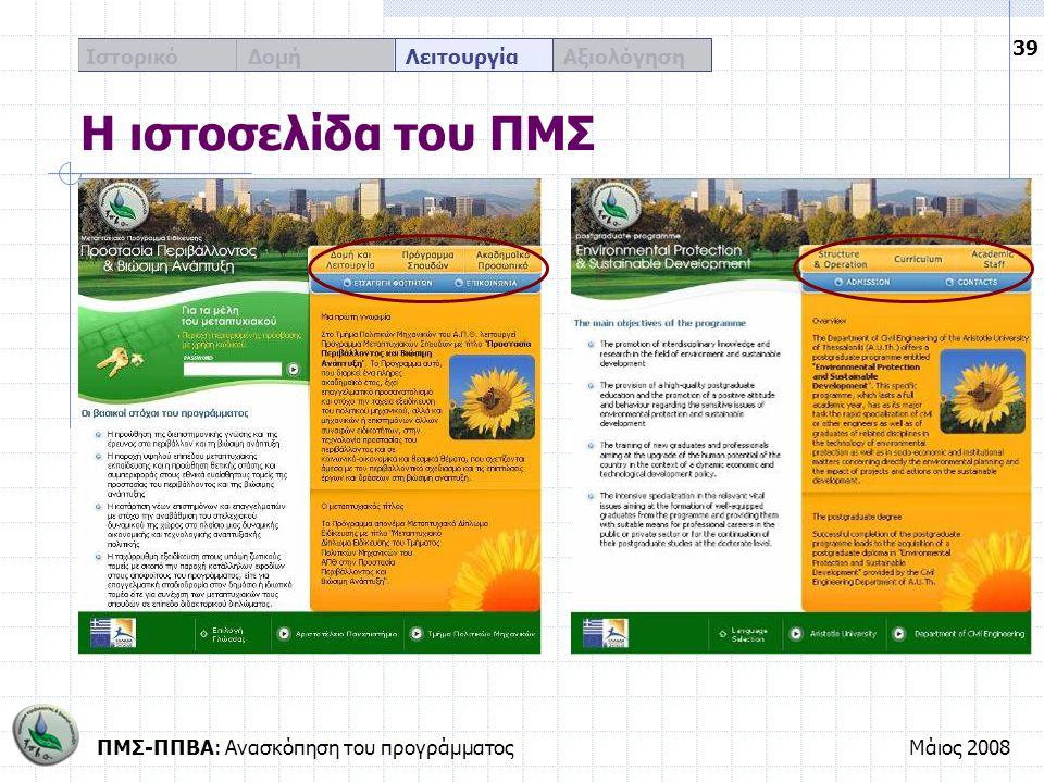 ΠΜΣ-ΠΠΒΑ: Ανασκόπηση του προγράμματοςΜάιος 2008 39 Ιστορικό Δομή Λειτουργία Αξιολόγηση Η ιστοσελίδα του ΠΜΣ