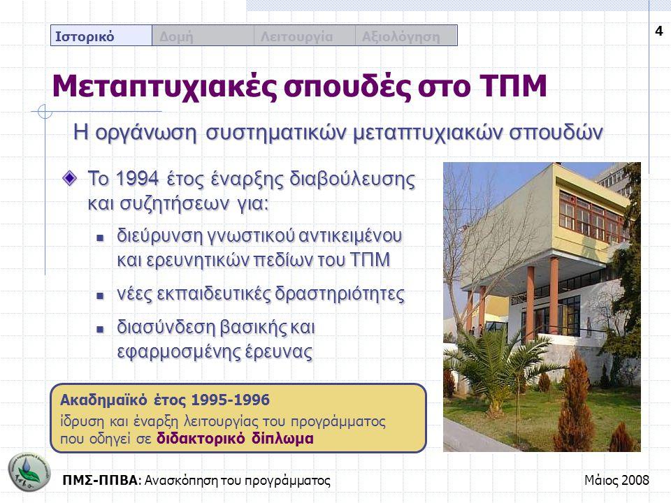 ΠΜΣ-ΠΠΒΑ: Ανασκόπηση του προγράμματοςΜάιος 2008 15 Ιστορικό Δομή Λειτουργία Αξιολόγηση Η εκπαίδευση μέσω του ΠΜΣ-ΠΠΒΑ Τα κύρια χαρακτηριστικά του προγράμματος Ετήσια διάρκεια σπουδών Εισάγονται πολιτικοί μηχανικοί αλλά και πτυχιούχοι ειδικοτήτων και κλάδων θετικής κατεύθυνσης (30 συνολικά) Δύο διδακτικά εξάμηνα με υποχρέωση παρακολούθησης 10 συνολικά μαθημάτων Εκπόνηση διπλωματικής εργασίας στη διάρκεια του θερινού τριμήνου Απόκτηση μεταπτυχιακού διπλώματος ειδίκευσης από το ΤΠΜ του ΑΠΘ στην Προστασία Περιβάλλοντος και Βιώσιμη Ανάπτυξη