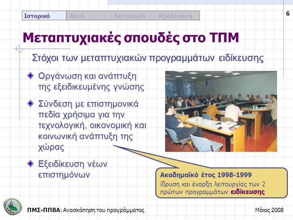ΠΜΣ-ΠΠΒΑ: Ανασκόπηση του προγράμματοςΜάιος 2008 17 Ιστορικό Δομή Λειτουργία Αξιολόγηση Το πρόγραμμα σπουδών Τα μαθήματα του εαρινού εξαμήνου Εξειδικευμένου περιεχομένου Περισσότερο πρακτικής-τεχνολογικής κατεύθυνσης Καλύπτουν ευρύ φάσμα επιστημονικών αντικειμένων Προσανατολισμένα στην επιστήμη του πολιτικού μηχανικού Ελεύθερης επιλογής Υποχρέωση επιτυχούς παρακολούθησης 5 μαθημάτων Επιπλέον υποχρεωτική παρακολούθηση του σεμιναριακού χαρακτήρα μαθήματος Εισαγωγή στην ερευνητική μεθοδολογία