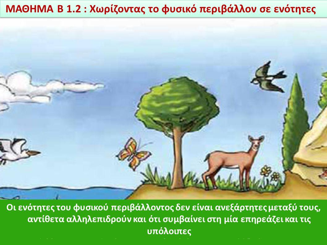 φυσικό περιβάλλον : όλοι οι ζωντανοί οργανισμοί και όλη η μη ζωντανή ύλη που υπάρχει στη γη Οι επιστήμονες προκειμένου να μελετήσουν το φυσικό περιβάλ