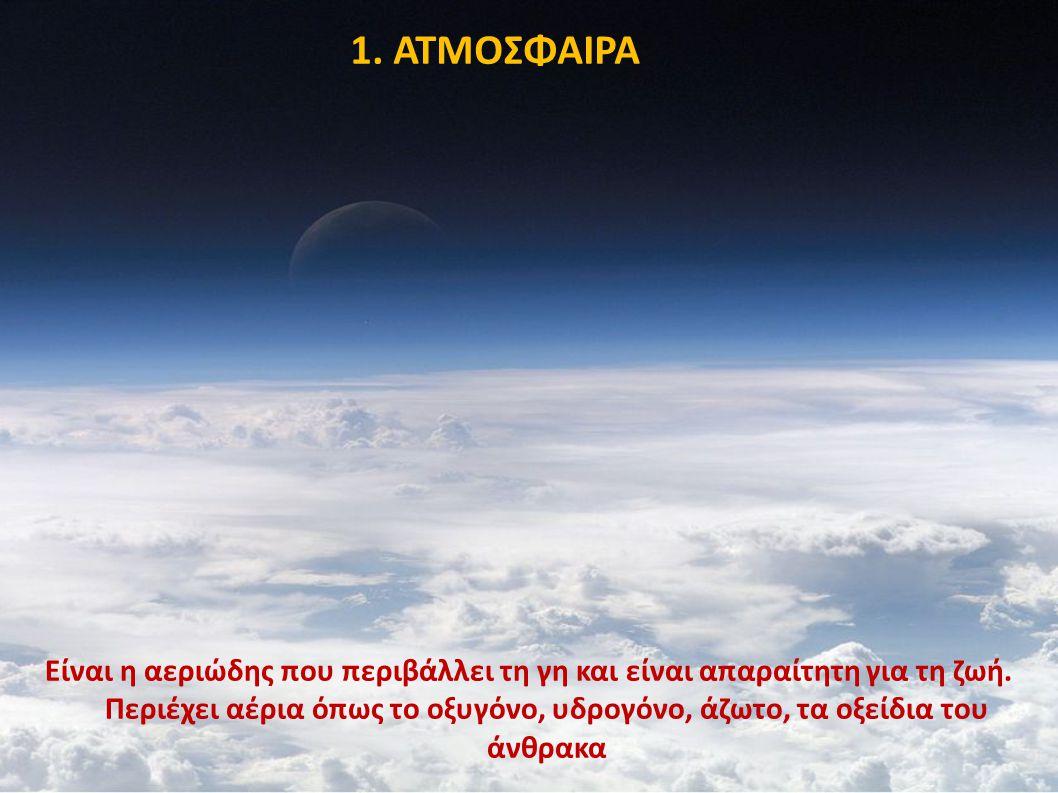 1. ΑΤΜΟΣΦΑΙΡΑ Είναι η αεριώδης που περιβάλλει τη γη και είναι απαραίτητη για τη ζωή. Περιέχει αέρια όπως το οξυγόνο, υδρογόνο, άζωτο, τα οξείδια του ά