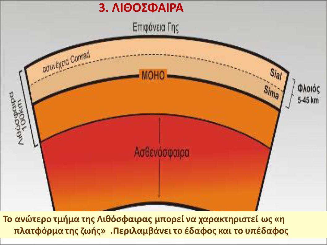 3. ΛΙΘΟΣΦΑΙΡΑ Το ανώτερο τμήμα της Λιθόσφαιρας μπορεί να χαρακτηριστεί ως «η πλατφόρμα της ζωής».Περιλαμβάνει το έδαφος και το υπέδαφος