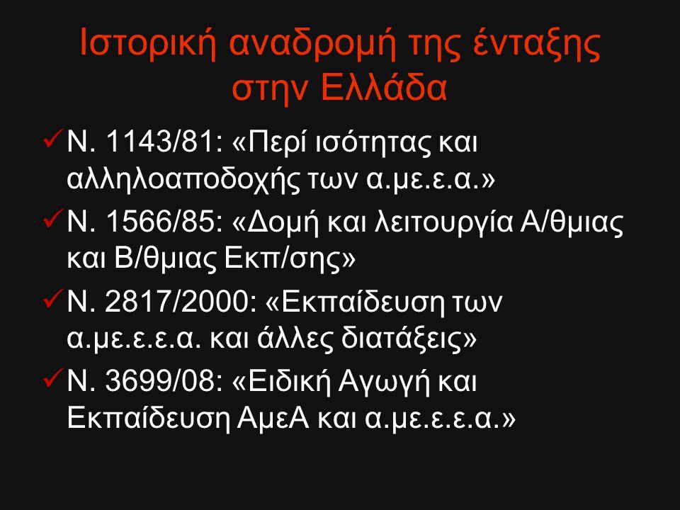 Ιστορική αναδρομή της ένταξης στην Ελλάδα Ν. 1143/81: «Περί ισότητας και αλληλοαποδοχής των α.με.ε.α.» Ν. 1566/85: «Δομή και λειτουργία Α/θμιας και Β/