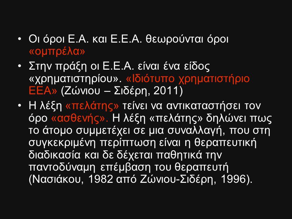 Οι όροι Ε.Α. και Ε.Ε.Α. θεωρούνται όροι «ομπρέλα» Στην πράξη οι Ε.Ε.Α. είναι ένα είδος «χρηματιστηρίου». «Ιδιότυπο χρηματιστήριο ΕΕΑ» (Ζώνιου – Σιδέρη